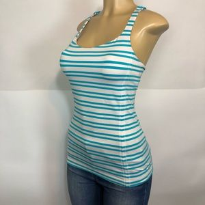 Lululemon striped blue white athletic tank top 6